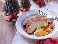 Roast Turkey with Glazed Carrots and Polenta Diamonds recipe