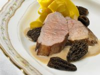 Roast Veal Loin with Saffron Noodles and Morels recipe