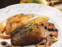 Roast Venison with Pears and Pine Nuts recipe