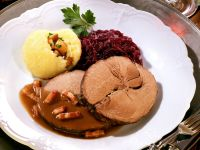 Roast Wild Boar with Dumplings and Red Cabbage recipe