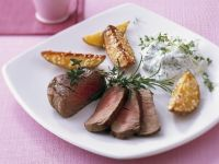 Roasted Beef Fillet with Potato Wedges and Creme Fraiche recipe