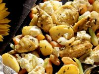 Roasted Chicken and Root Vegetables with Sage and Feta recipe