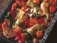 Roasted Chicken Thighs with Peppers, Tomatoes and Onions recipe