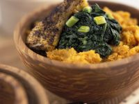 Roasted Chicken with Sweet Potatoes and Spinach recipe