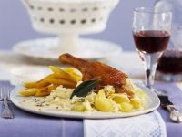 Roasted Duck Leg with Noodles and Sauerkraut recipe