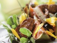 Roasted Duck Liver with Figs, Lettuce and Rhubarb recipe