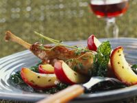 Roasted Goose Thighs with Apples and Chard