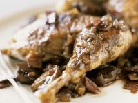 Roasted Guinea Fowl with Mushrooms and Bacon recipe