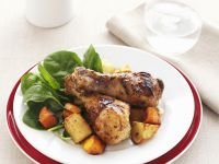 Roasted Honey Mustard Chicken Legs with Carrots and Potatoes recipe