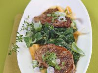 Roasted Lamb on Spinach Salad recipe