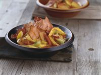 Roasted Pumpkin with Peppers and Bacon recipe