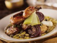 Roasted Quail, Leeks and Flageolet Beans recipe