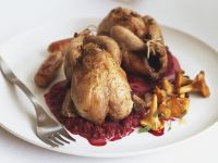 Roasted Quails with Beetroots and Chanterelles recipe
