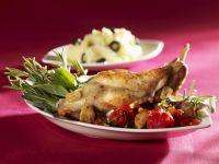 Roasted Rabbit with Olive Mashed Potatoes recipe