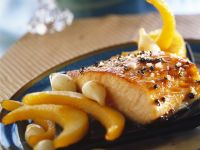 Roasted Salmon in Maple Syrup with Quince and Onions recipe