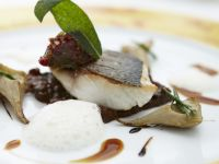 Roasted Sea Bass with Lentils and Artichokes recipe