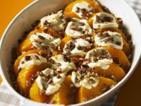 Roasted Squash with Soft Cheese and Chopped Pecans
