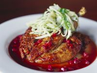 Roasted Turkey with Pomegranate Sauce and Cucumber Salad recipe