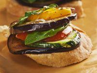 Roasted Vegetable Stacks on Bread recipe