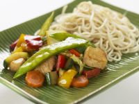 Roasted Vegetables with Chicken and Rice Noodles recipe