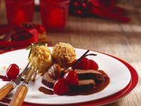 Roasted Venison with Cherry Sauce and Chestnut Dumplings recipe