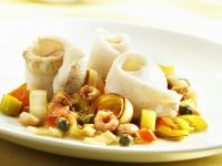 Rolled Sole Fillets with Shrimp, Capers, Leeks and Tomatoes recipe