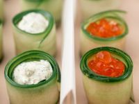 Rolled Zucchini Appetizers with Salmon Caviar and Herbed Cream Cheese recipe