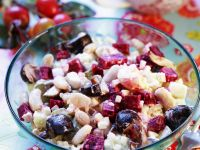 Russian Vegetable Salad with Beetroot and Mushrooms