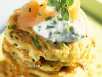 Rutabaga Cakes with Herbed Cheese recipe