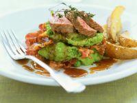 Saddle of Lamb with Mashed Peas and Potato Wedges recipe
