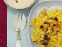 Saffron and Dried Fruit Couscous with Spiced Yogurt Sauce recipe