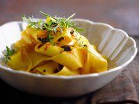 Saffron and Olive Pappardelle recipe