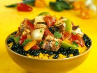 Saffron Rice with Black Beans and Chicken recipe