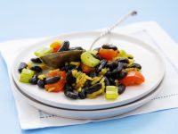Saffron Rice with Black Beans, Peppers and Celery recipe