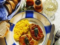 Saffron Risotto with Veal Saltimbocca recipe