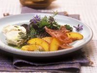 Salad of Wild Herbs, Peach and Goat Cheese with Basil Oil Dressing recipe