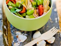 Salad with Broad Beans, Artichokes and Ham recipe