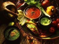 Salad with Dips and Tacos recipe
