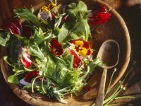 Salad with Flowers and Chive Dressing recipe