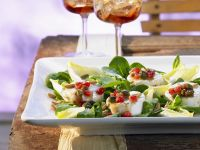 Salad with Goat Cheese and Pomegranate Dressing recipe