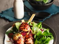 Salad with Grilled Feta and Bacon Skewers recipe