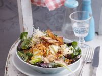 Salad with Red Lentils and Smoked Tofu Chips (Vegan) recipe
