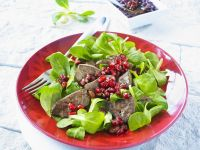 Salad with Roasted Duck Liver and Pomegranate