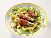 Salad with Serrano Ham and Cucumber Rolls recipe