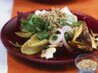 Salad with Tofu, Mushrooms and Clover Sprouts recipe