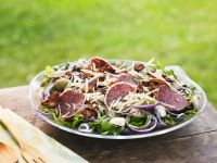 Salami and Mushroom Salad with Cheese and Olives recipe