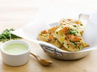 Salmon and Corn Pancakes with Herb Sauce recipe