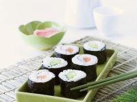 Salmon and Cucumber Sushi Rolls recipe