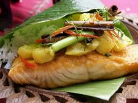 Salmon and Pineapple on Banana Leaves recipe