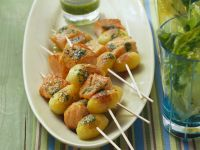 Salmon and Potato Skewers with Arugula Pesto recipe